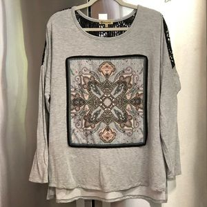 LIKE NEW Democracy Paisley & Lace Inlay Top Size L